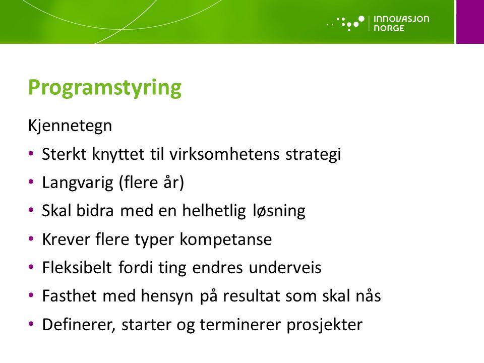 Programstyring Kjennetegn Sterkt knyttet til virksomhetens strategi