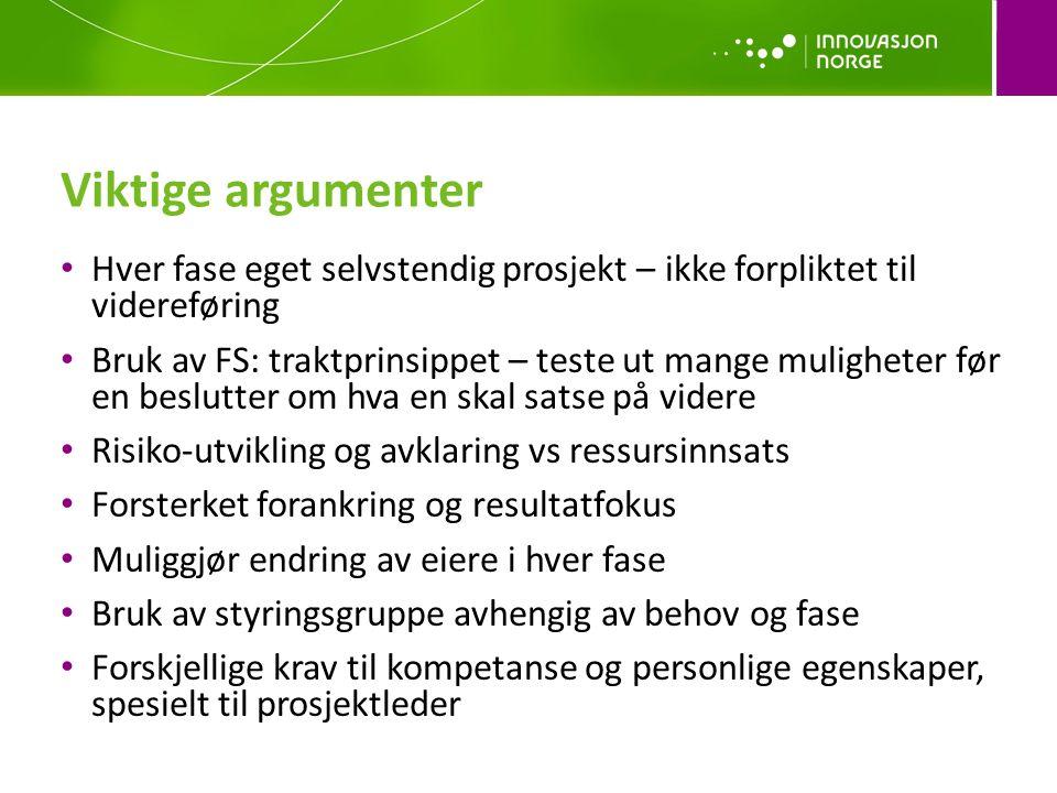 Viktige argumenter Hver fase eget selvstendig prosjekt – ikke forpliktet til videreføring.