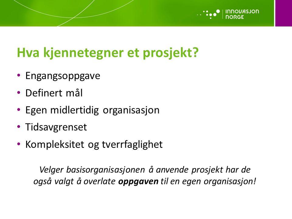 Hva kjennetegner et prosjekt