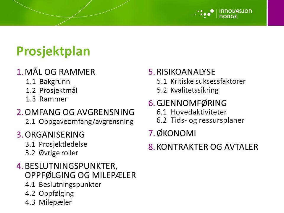 Prosjektplan MÅL OG RAMMER RISIKOANALYSE GJENNOMFØRING