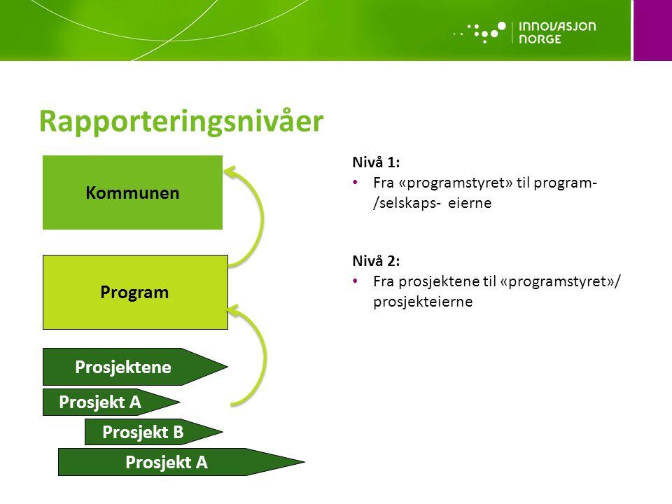 Rapporteringsnivåer Kommunen Program Prosjektene Prosjekt A Prosjekt B