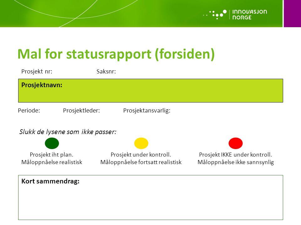 Mal for statusrapport (forsiden)