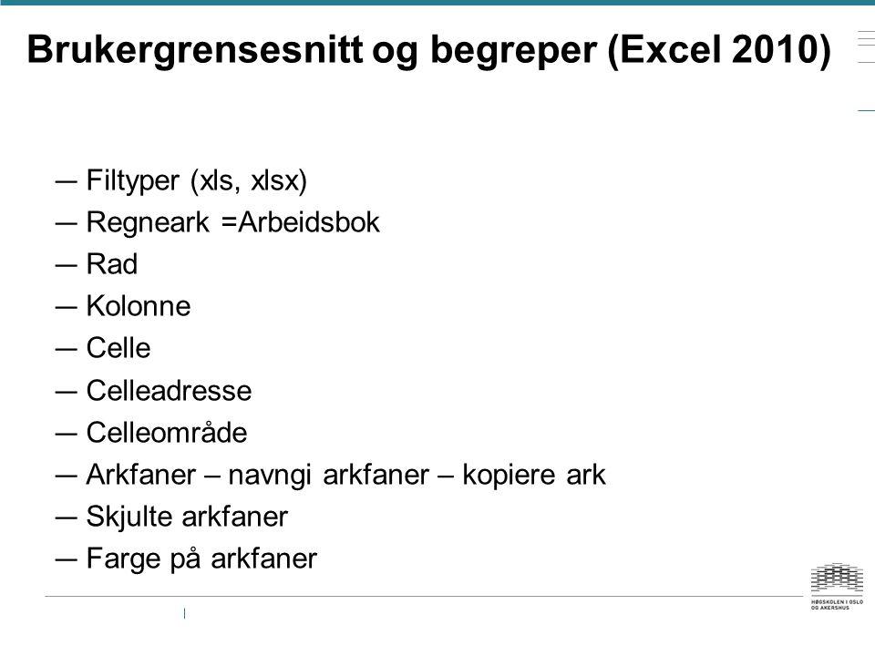 Brukergrensesnitt og begreper (Excel 2010)