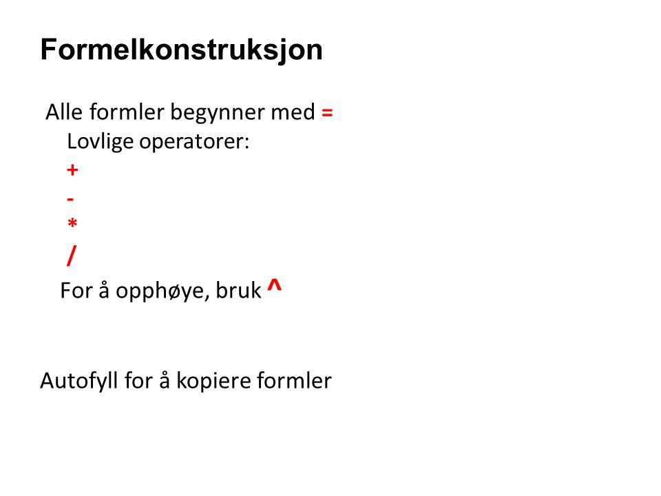 Formelkonstruksjon Alle formler begynner med = For å opphøye, bruk ^