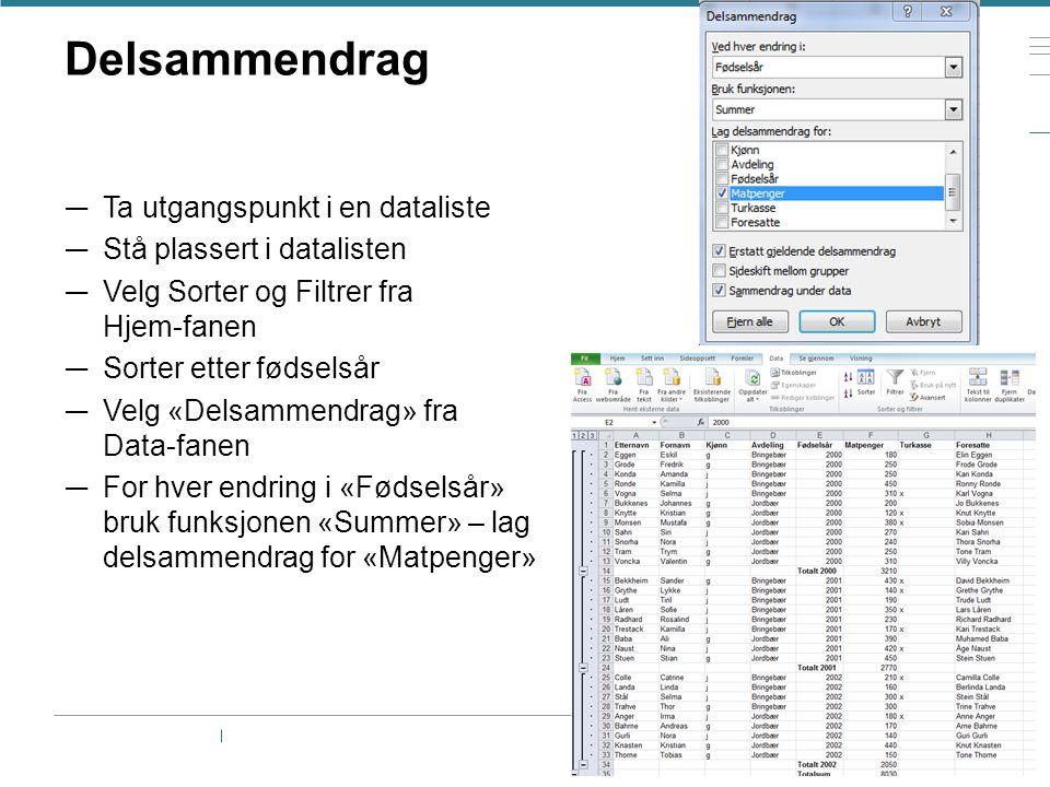 Delsammendrag Ta utgangspunkt i en dataliste Stå plassert i datalisten