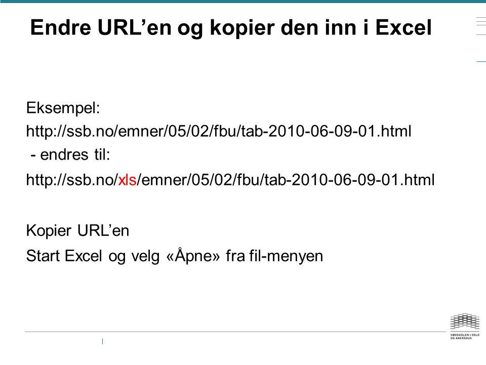 Endre URL'en og kopier den inn i Excel