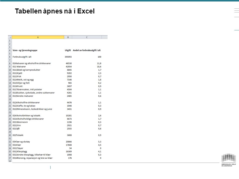 Tabellen åpnes nå i Excel