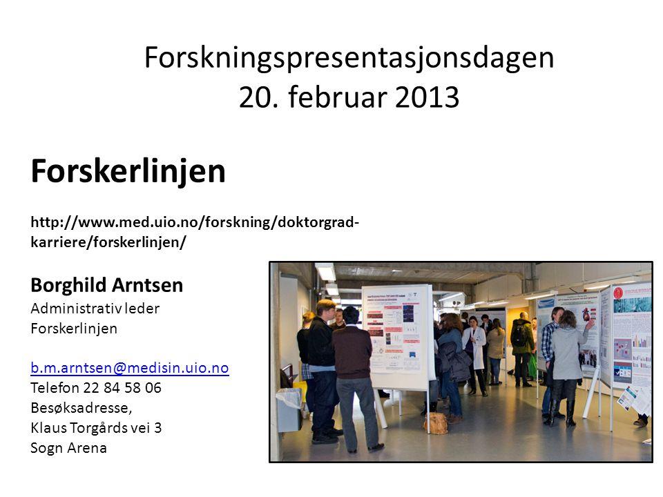 Forskningspresentasjonsdagen 20. februar 2013
