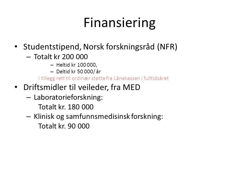 Finansiering Studentstipend, Norsk forskningsråd (NFR)