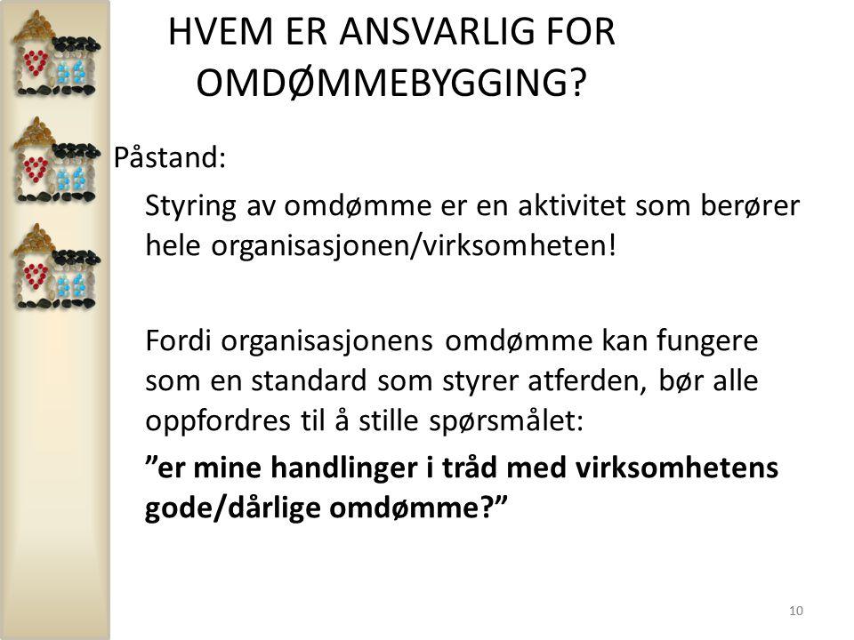 HVEM ER ANSVARLIG FOR OMDØMMEBYGGING