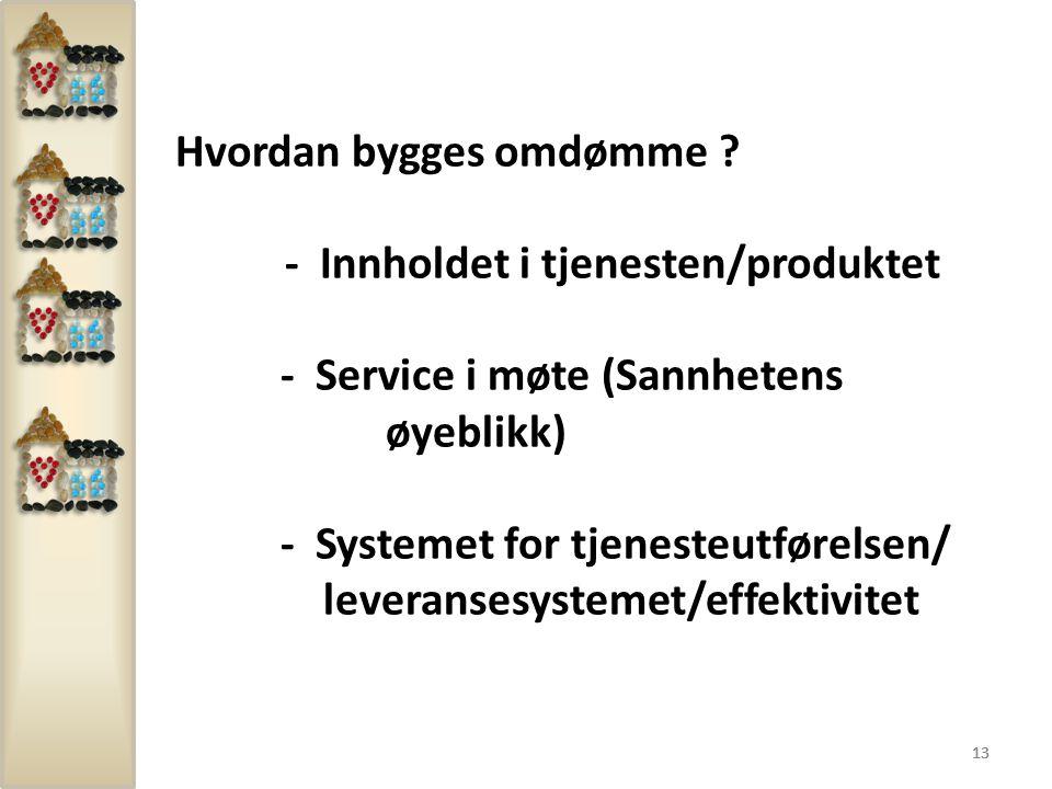 Hvordan bygges omdømme - Innholdet i tjenesten/produktet