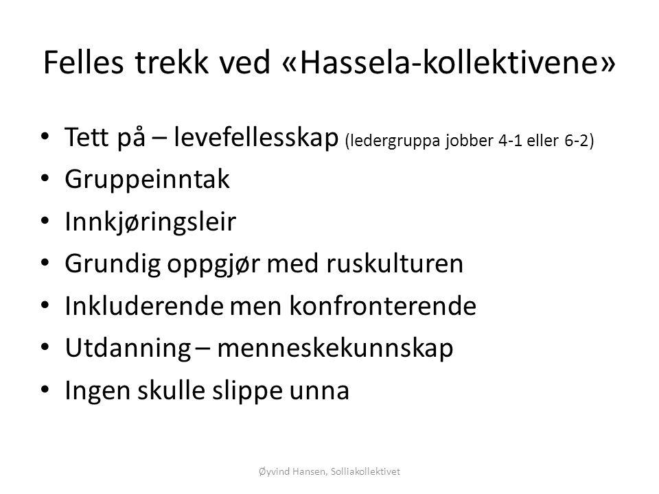 Felles trekk ved «Hassela-kollektivene»