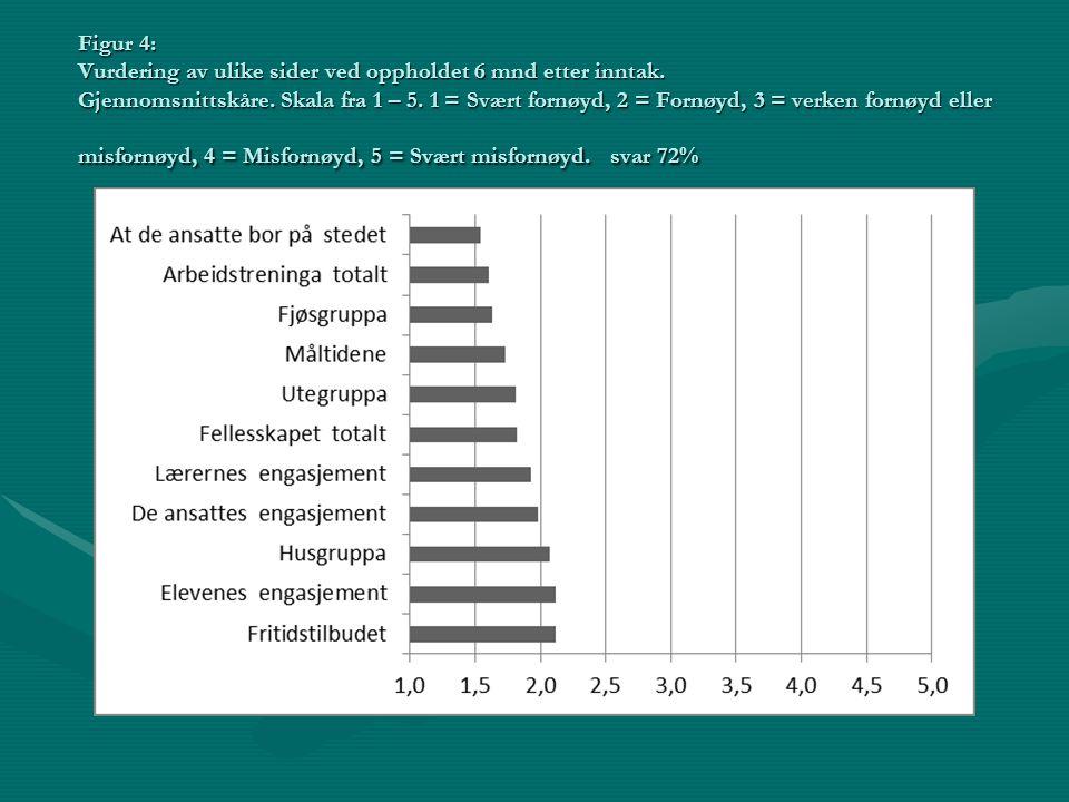 Figur 4: Vurdering av ulike sider ved oppholdet 6 mnd etter inntak