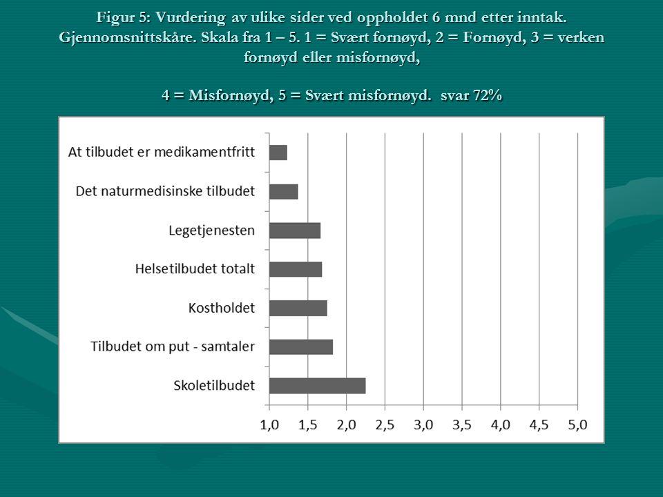 Figur 5: Vurdering av ulike sider ved oppholdet 6 mnd etter inntak