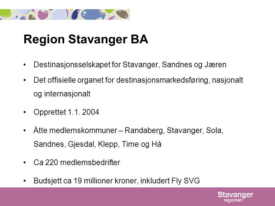 Region Stavanger BA Destinasjonsselskapet for Stavanger, Sandnes og Jæren.