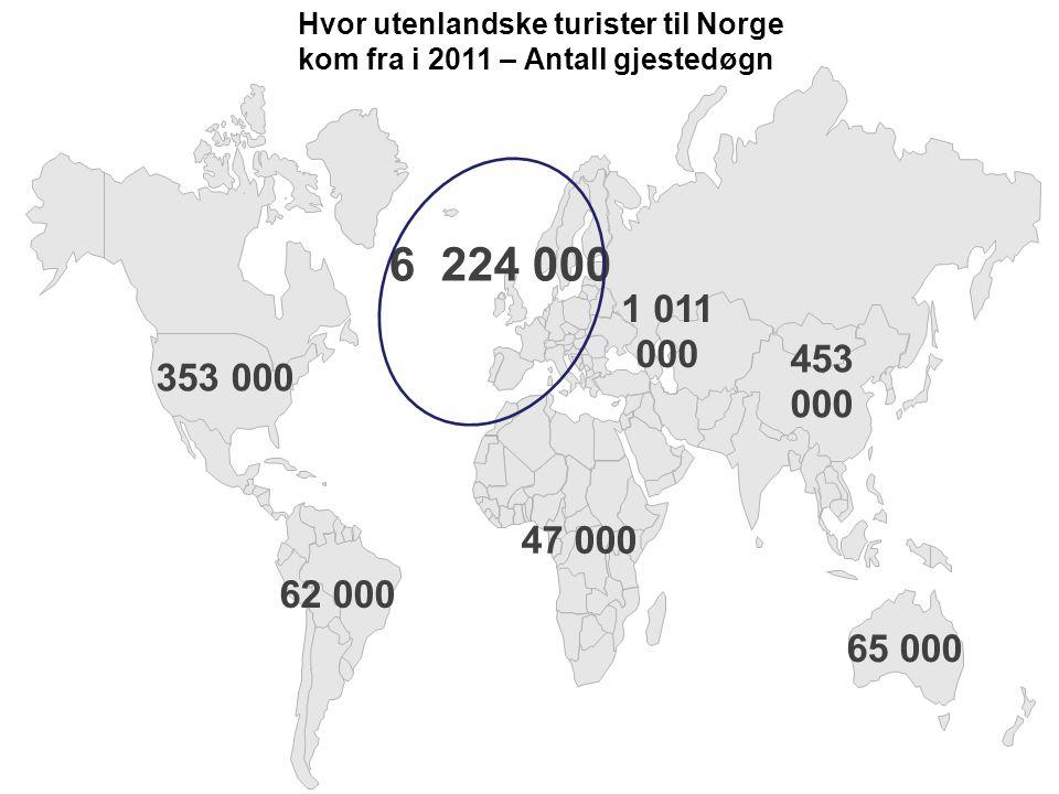 Hvor utenlandske turister til Norge kom fra i 2011 – Antall gjestedøgn