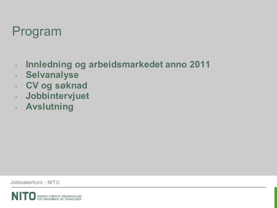 Program Innledning og arbeidsmarkedet anno 2011 Selvanalyse