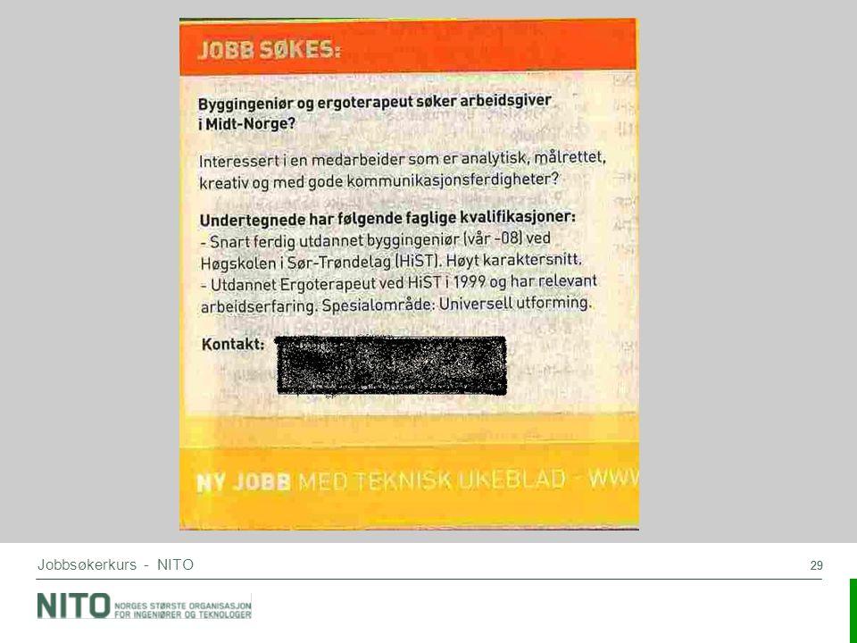 Jobbsøkerkurs - NITO 29
