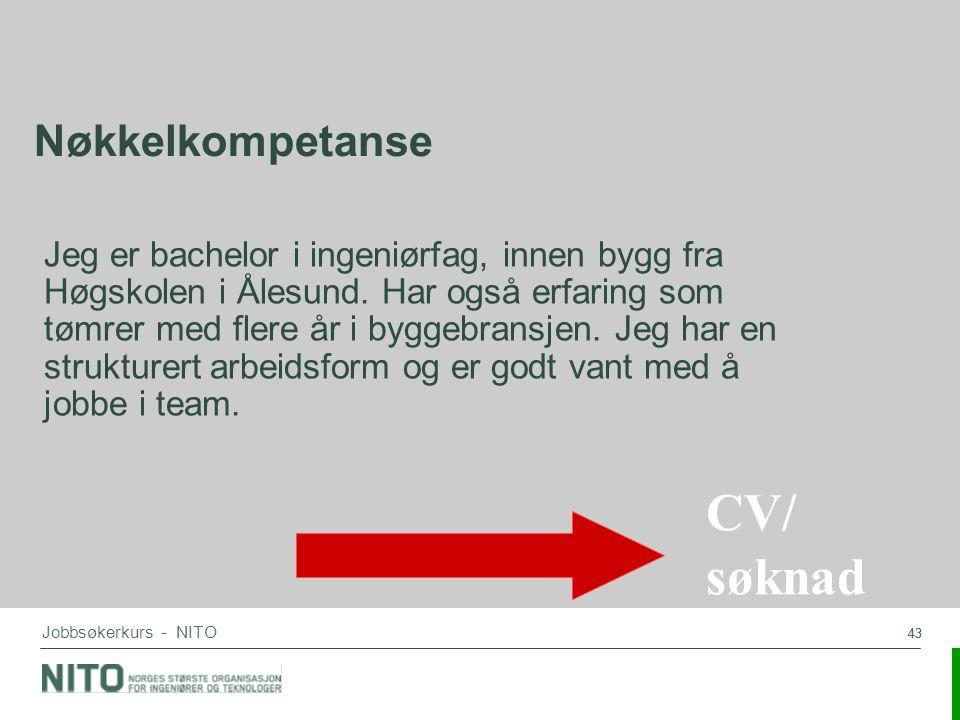 CV/ søknad Nøkkelkompetanse