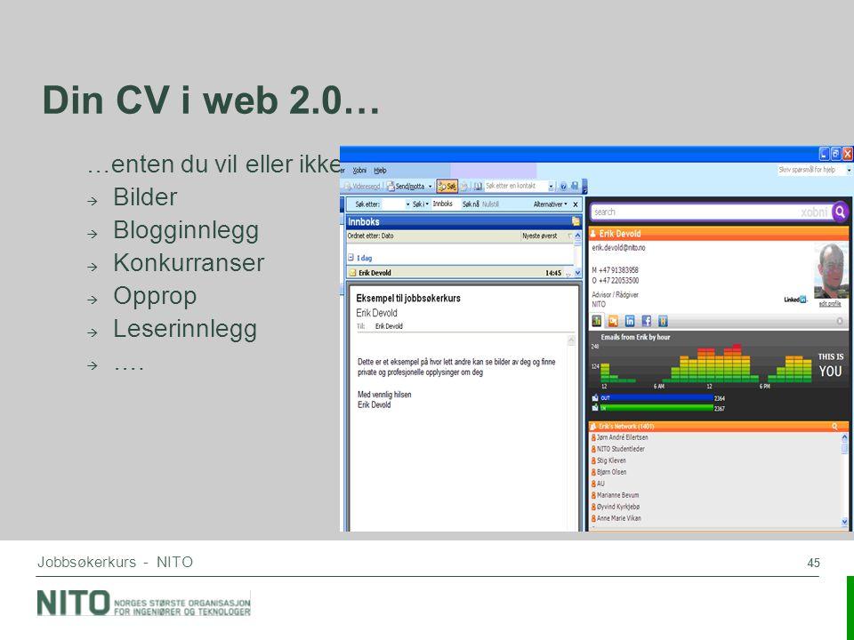 Din CV i web 2.0… …enten du vil eller ikke Bilder Blogginnlegg