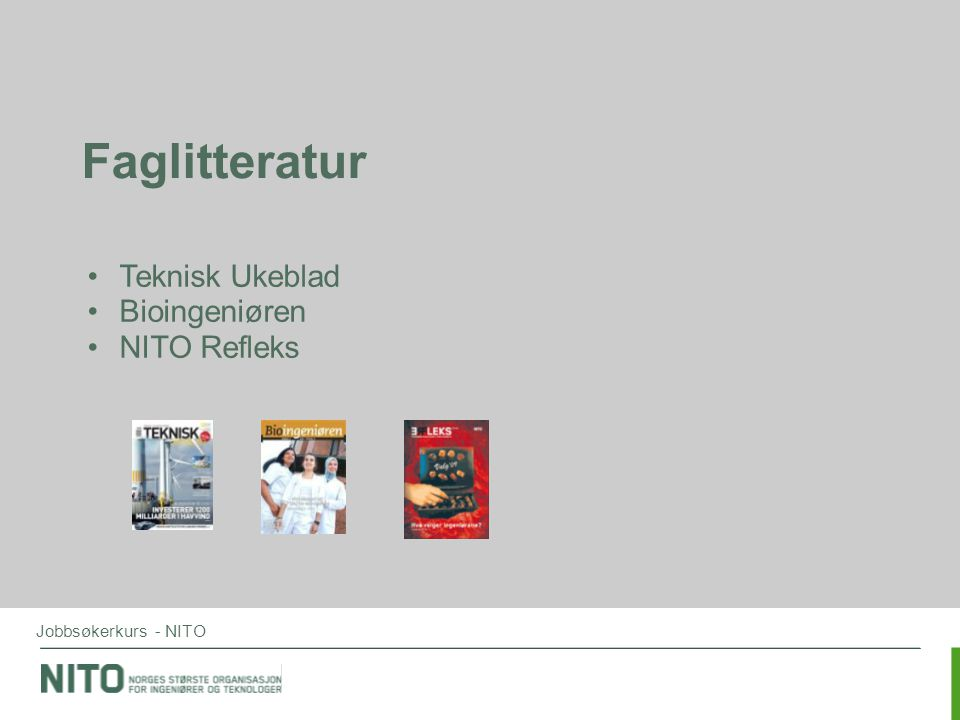 Faglitteratur Teknisk Ukeblad Bioingeniøren NITO Refleks