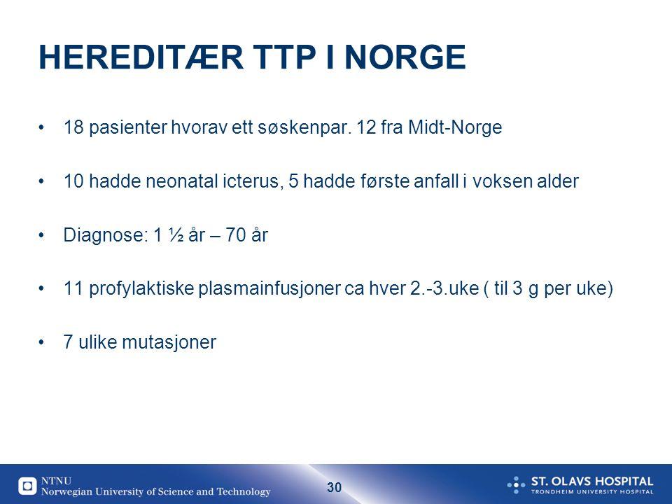 HEREDITÆR TTP I NORGE 18 pasienter hvorav ett søskenpar. 12 fra Midt-Norge. 10 hadde neonatal icterus, 5 hadde første anfall i voksen alder.