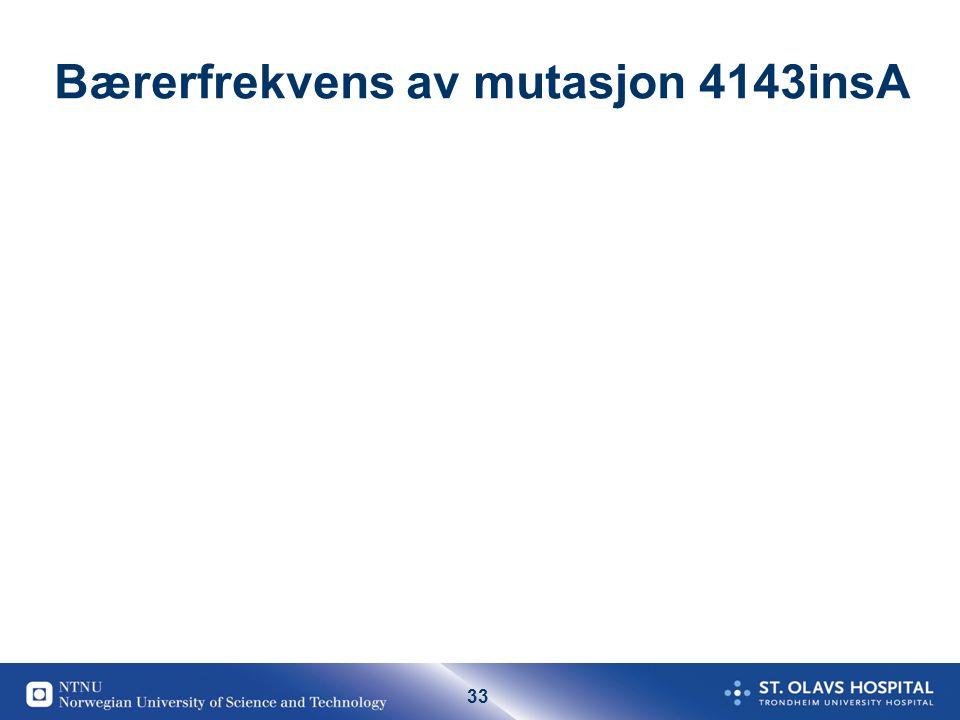 Bærerfrekvens av mutasjon 4143insA