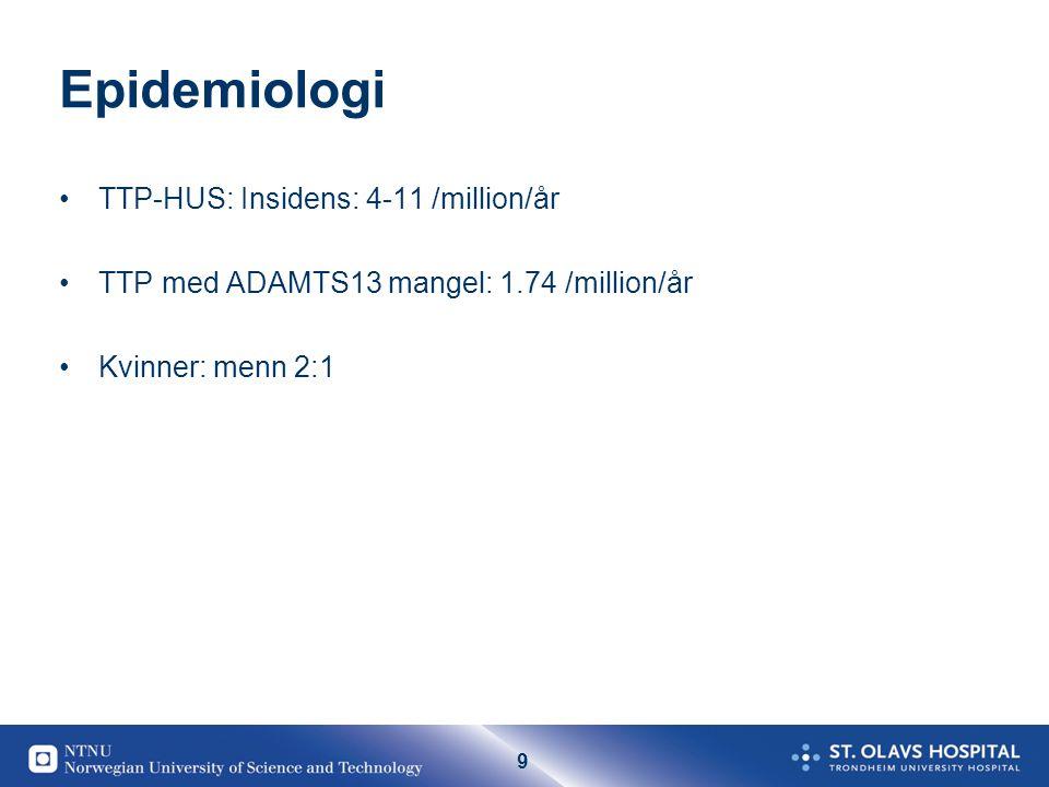 Epidemiologi TTP-HUS: Insidens: 4-11 /million/år
