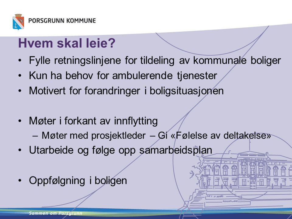 Hvem skal leie Fylle retningslinjene for tildeling av kommunale boliger. Kun ha behov for ambulerende tjenester.