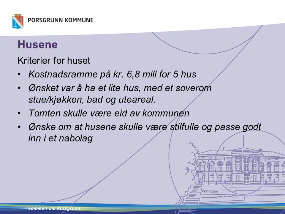 Husene Kriterier for huset Kostnadsramme på kr. 6,8 mill for 5 hus