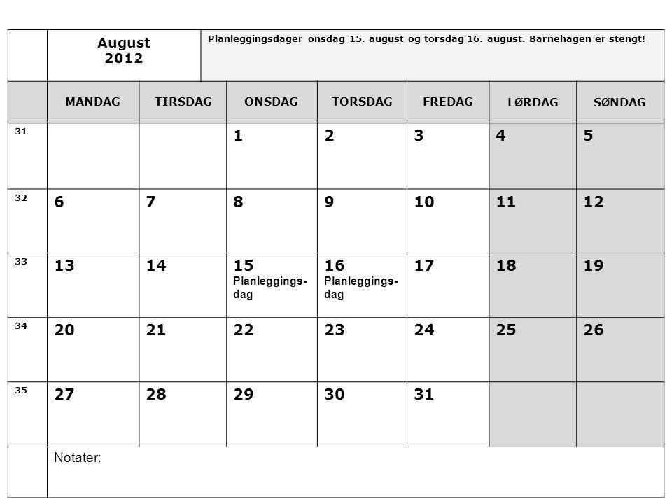 August 2012. Planleggingsdager onsdag 15. august og torsdag 16. august. Barnehagen er stengt! MANDAG.