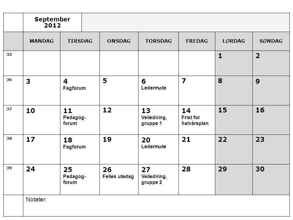 September 2012 MANDAG. TIRSDAG. ONSDAG. TORSDAG. FREDAG. LØRDAG. SØNDAG. 35. 1. 2. 36. 3.