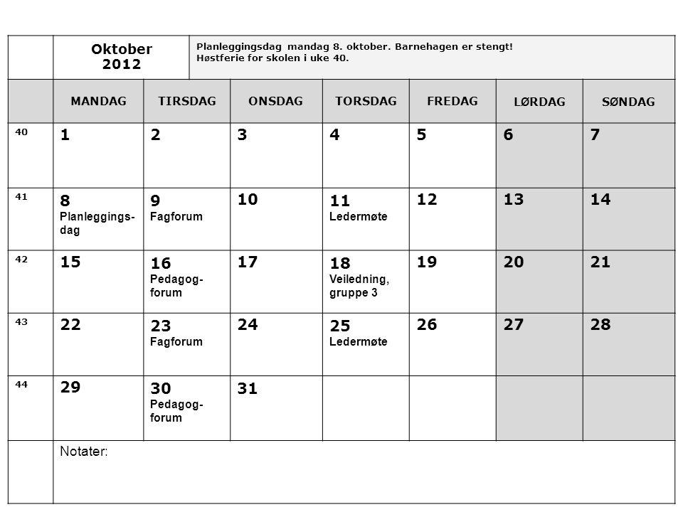 Oktober 2012. Planleggingsdag mandag 8. oktober. Barnehagen er stengt! Høstferie for skolen i uke 40.