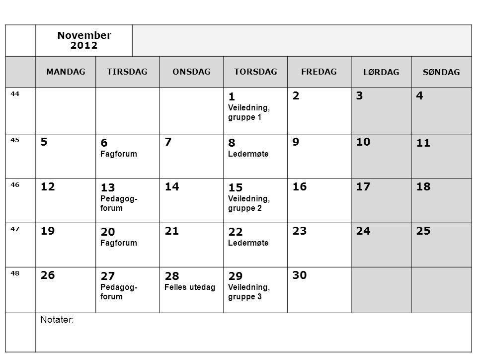 November 2012. MANDAG. TIRSDAG. ONSDAG. TORSDAG. FREDAG. LØRDAG. SØNDAG. 44. 1. Veiledning,