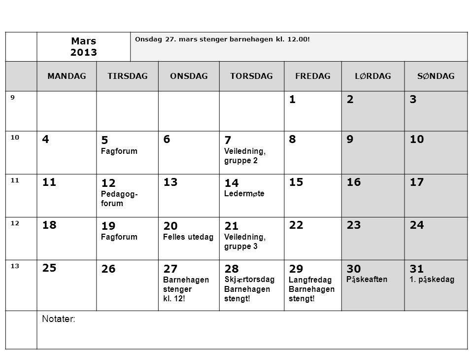Mars 2013. Onsdag 27. mars stenger barnehagen kl. 12.00! MANDAG. TIRSDAG. ONSDAG. TORSDAG. FREDAG.
