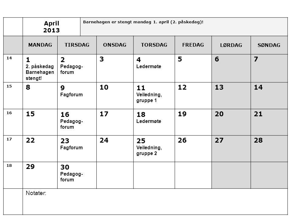 April 2013. Barnehagen er stengt mandag 1. april (2. påskedag)! MANDAG. TIRSDAG. ONSDAG. TORSDAG.