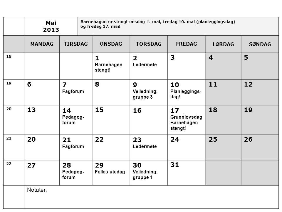 Mai 2013. Barnehagen er stengt onsdag 1. mai, fredag 10. mai (planleggingsdag) og fredag 17. mai!