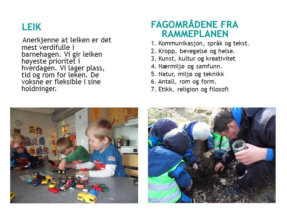 LEIK FAGOMRÅDENE FRA RAMMEPLANEN