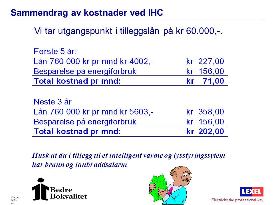 Sammendrag av kostnader ved IHC