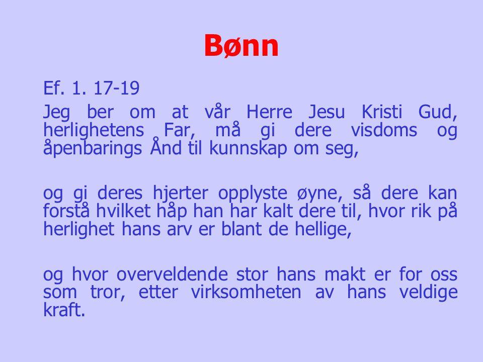 Bønn Ef. 1. 17-19. Jeg ber om at vår Herre Jesu Kristi Gud, herlighetens Far, må gi dere visdoms og åpenbarings Ånd til kunnskap om seg,