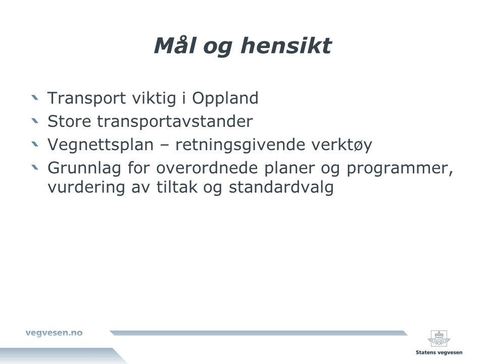 Mål og hensikt Transport viktig i Oppland Store transportavstander