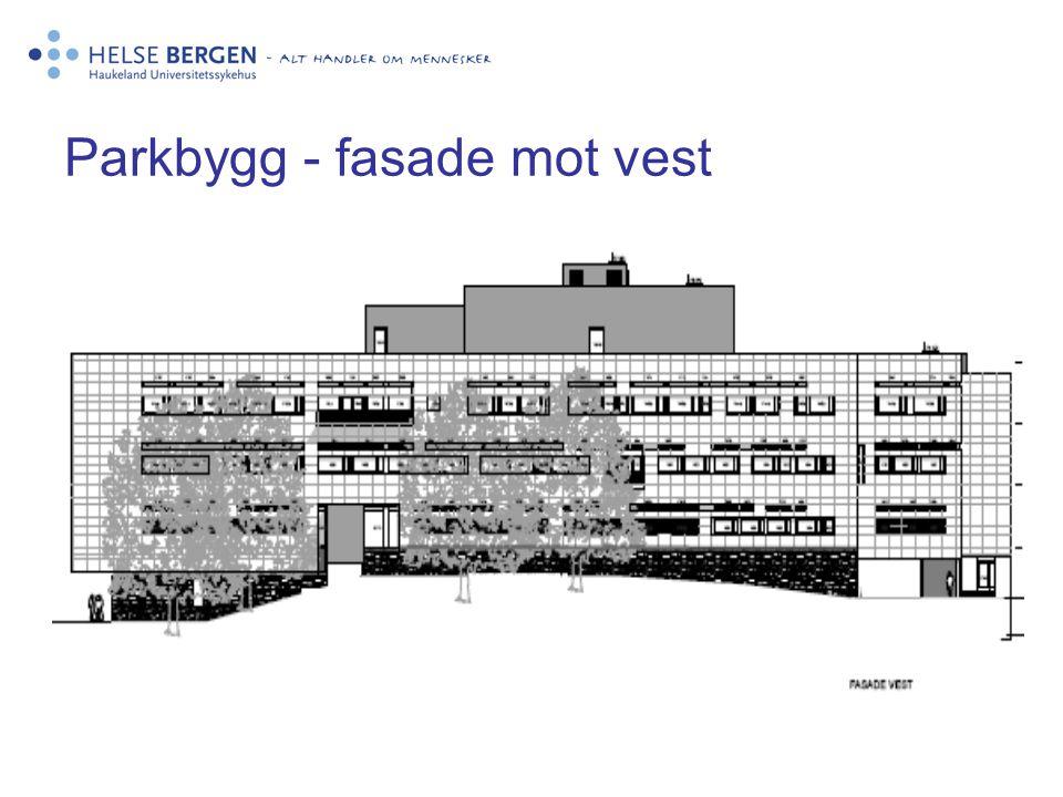 Parkbygg - fasade mot vest