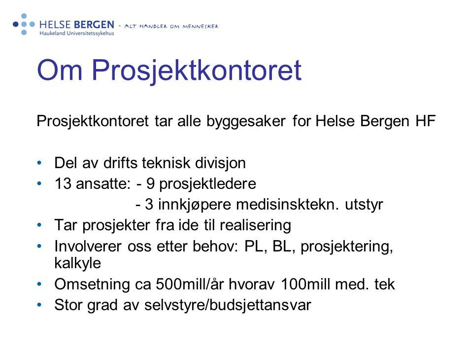 Om Prosjektkontoret Prosjektkontoret tar alle byggesaker for Helse Bergen HF. Del av drifts teknisk divisjon.
