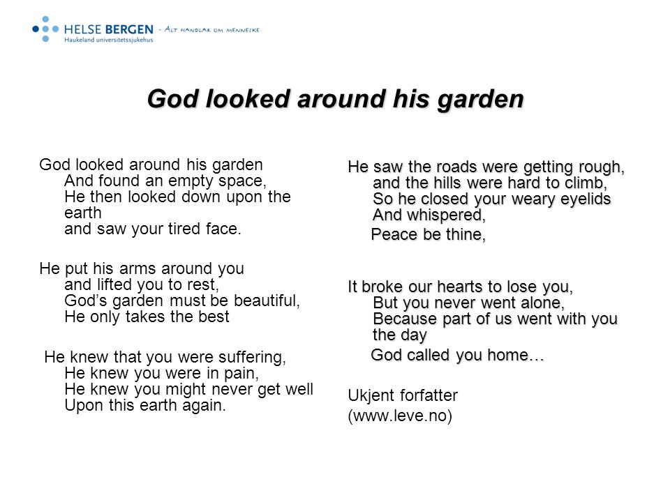 God looked around his garden