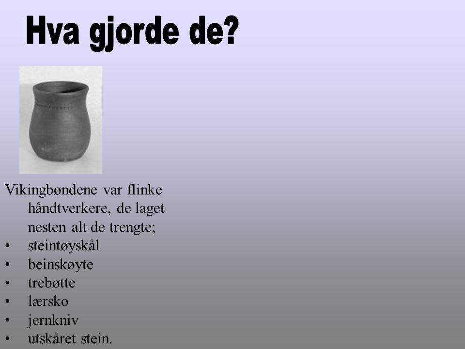 Hva gjorde de Vikingbøndene var flinke håndtverkere, de laget nesten alt de trengte; steintøyskål.