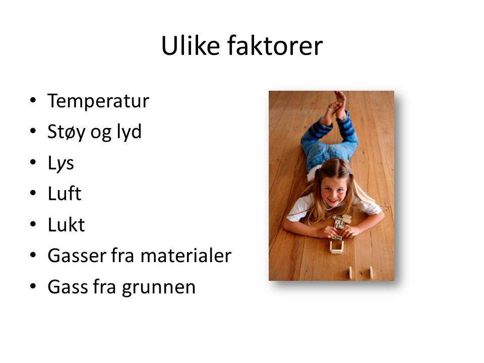 Ulike faktorer Temperatur Støy og lyd Lys Luft Lukt