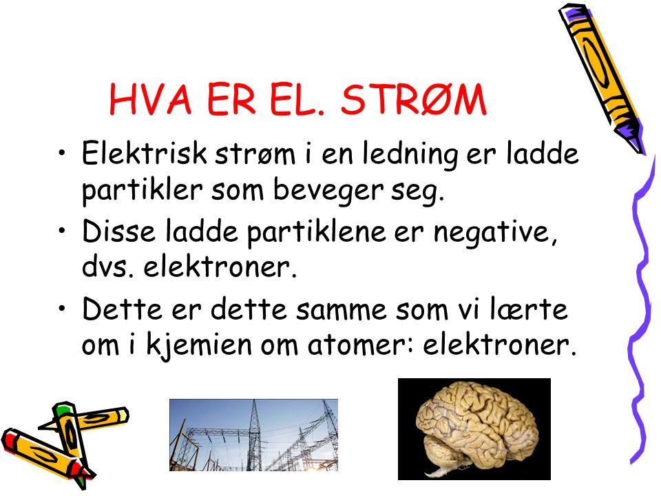 HVA ER EL. STRØM Elektrisk strøm i en ledning er ladde partikler som beveger seg. Disse ladde partiklene er negative, dvs. elektroner.