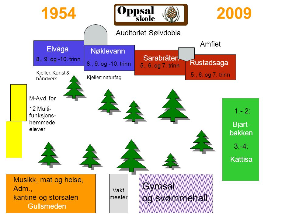 1954 2009 5., 6. og 7. trinn 5., 6. og 7. trinn Gymsal og svømmehall