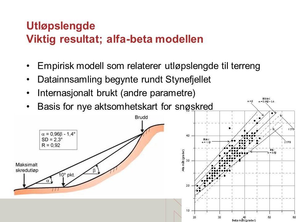 Utløpslengde Viktig resultat; alfa-beta modellen