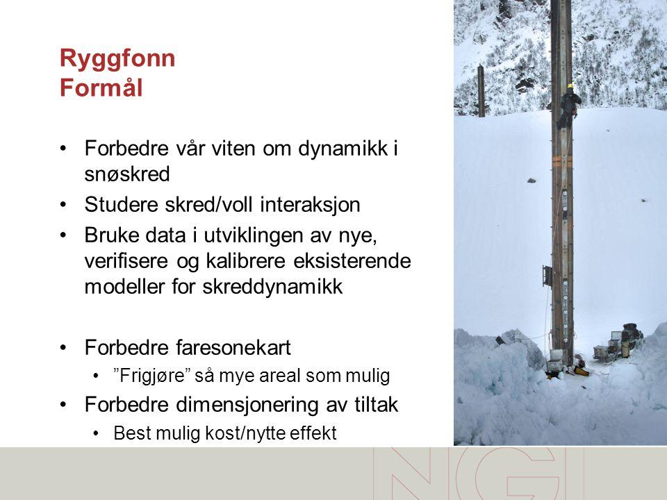 Ryggfonn Formål Forbedre vår viten om dynamikk i snøskred